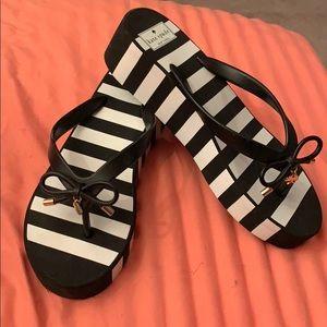 Kate Spade B&W Stripe Platform Flip Flops